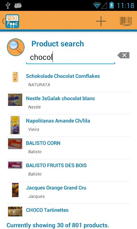 WikiFood4Android- screenshot