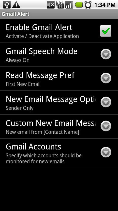 Gmail Speech Alert Trial - screenshot