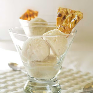 Gluten Free Dairy Free Caramelized Pear Ice Cream with Almond Brittle.