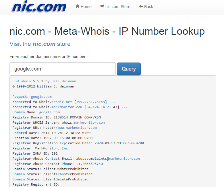 NIC Whois- screenshot