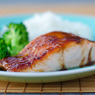 Pan-Seared Salmon with Soy Mustard Glaze.