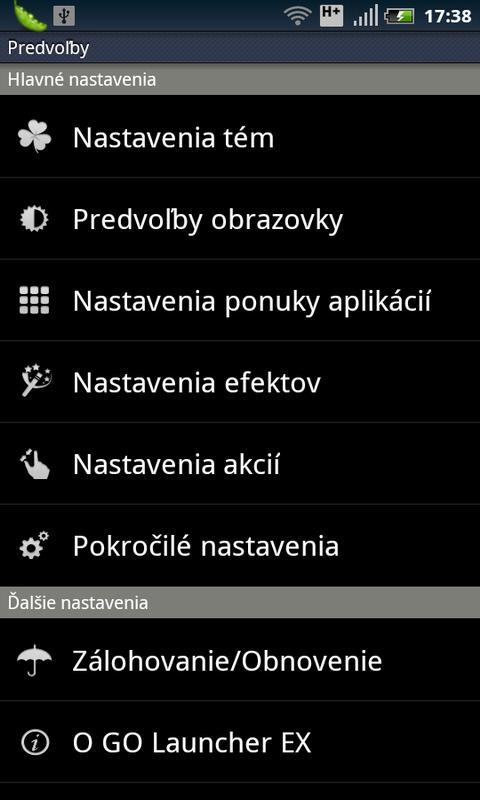 GO LauncherEX Slovak langpack- screenshot