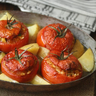 Greek Baked Stuffed Tomatoes with Rice (Yemista).