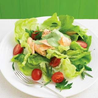 Butter-Lettuce Salad with Poached Salmon and Herbs.