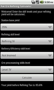 Eve Ore Refining Yield Calc screenshot 2
