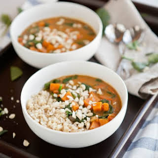Peanut Stew with Sweet Potatoes and Spinach.