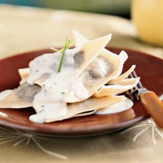 Mushroom Ravioli with Parmesan-Chive Sauce