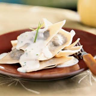 Mushroom Ravioli with Parmesan-Chive Sauce.
