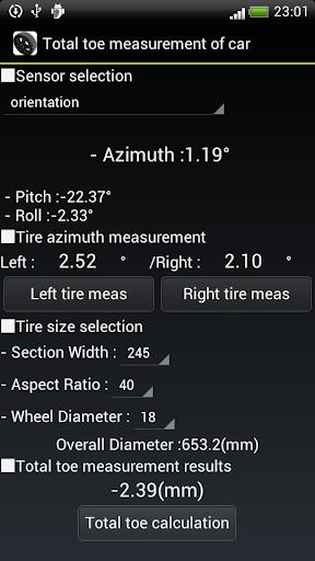 Total toe measurement of car