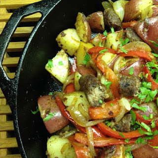 Bliss Potatoes with Sausage and Peppers.