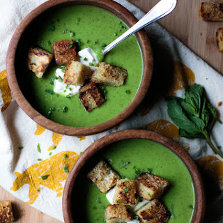 Fresh Spring Pea Soup With Crème Fraiche & Garlic Croutons