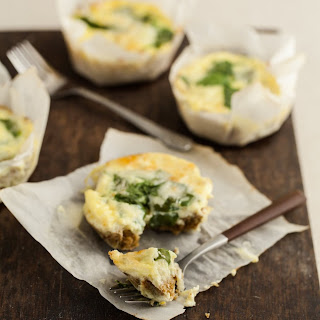 Mini Spinach Quiches with Flax Crust.