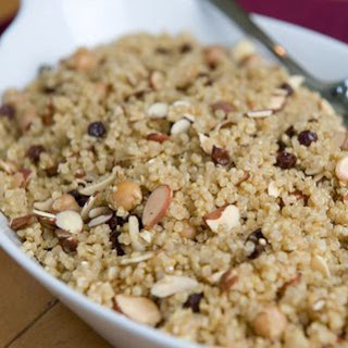 Quinoa Pilaf with Chickpeas, Currants & Almonds.