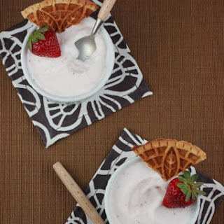 Roasted Strawberry Ice Cream with Graham Cracker Pizzelles.