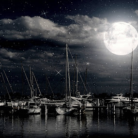 Silent Night by Dawn Marie - Landscapes Waterscapes ( water, clouds, wisconsin, moon, reflection, boats, reflections, lake, yachts, milwaukee, sky, stars, night, sail, nikon )