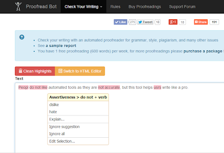 Proofread Bot Grammar Checker- screenshot thumbnail