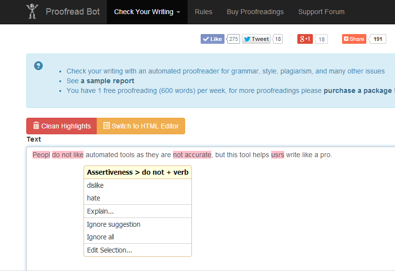 Proofread Bot Grammar Checker- screenshot