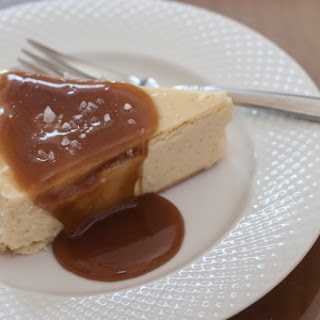 Mascarpone Cheesecake with Salted Caramel Sauce.