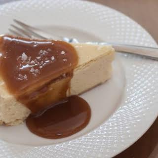 Mascarpone Cheesecake with Salted Caramel Sauce.