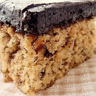 Banana Cake With Chocolate Frosting.