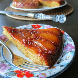 Peach Polenta Upside-Down Cake