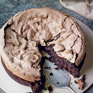 Double-baked Chocolate Meringue Brownie.