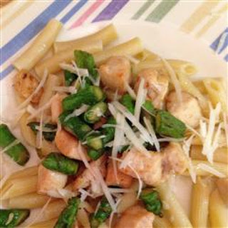 Asparagus, Chicken and Penne Pasta.