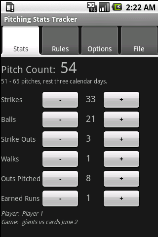 Youth Baseball Pitching Stats - screenshot