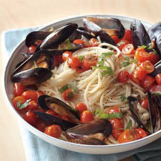 Spaghetti and Mussels with Tomatoes and Basil.