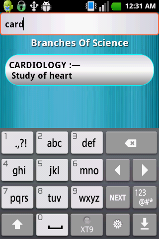 Branches of Science- screenshot
