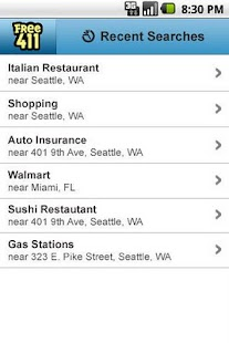 FREE411 Yellow Pages Search - screenshot thumbnail