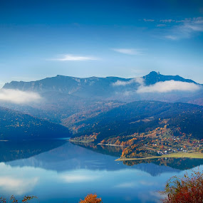 Between Skies by Bogdan Blaga - Landscapes Mountains & Hills ( reflection, blue sky, mountain, autumn, lake mountain )
