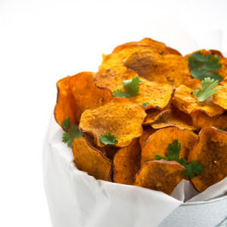 Chili Spiced Sweet Potato Chips with Greek Yogurt Blue Cheese Dip.