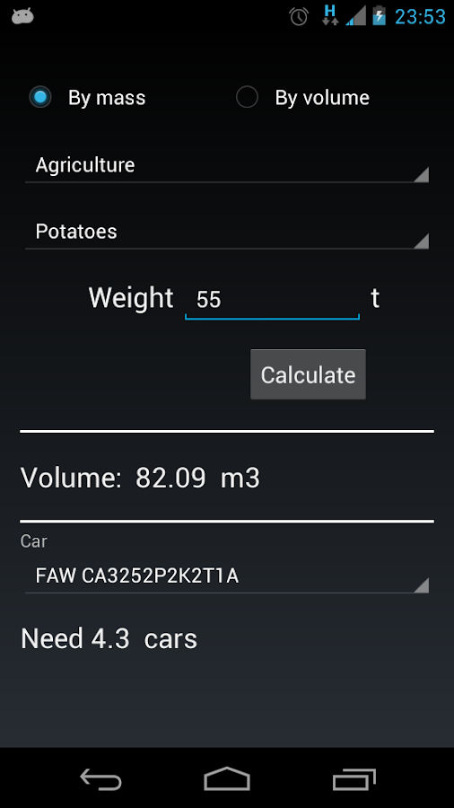 Calculator bulk materials. - screenshot