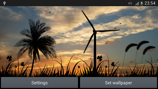 夕陽風車動態壁紙