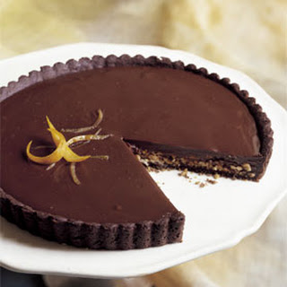 Dark Chocolate and Orange Tart with Toasted Almonds.