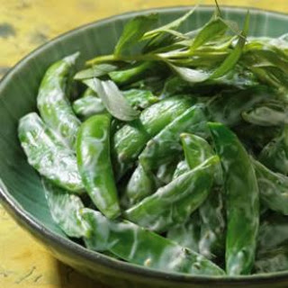 Chilled Snap Peas With Creamy Tarragon Dressing.
