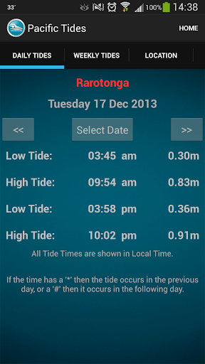 Pacific Islands Tide Times