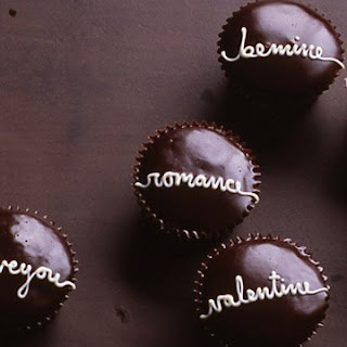 Handwritten Valentine Cupcakes with Chocolate Glaze.