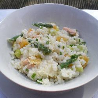Creamy Trout, Leek And Asparagus Risotto.