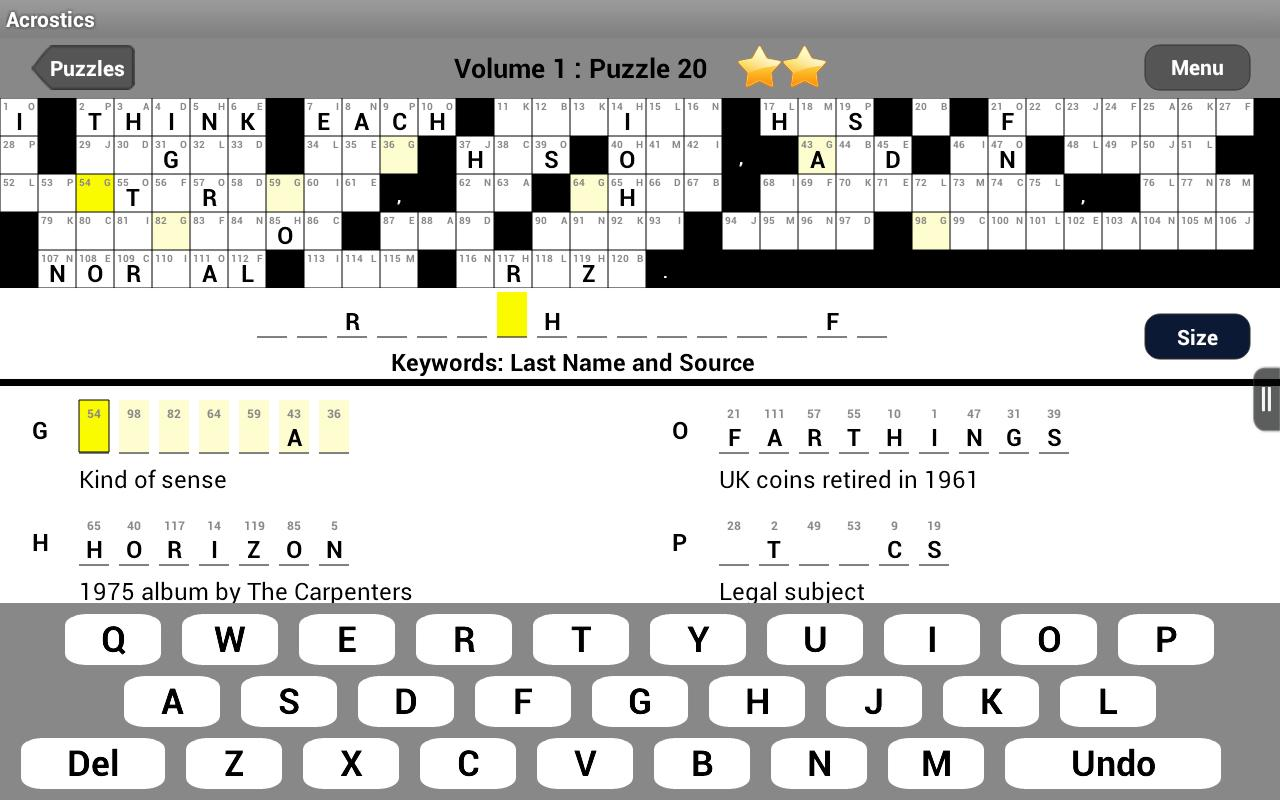 Acrostics Crossword Puzzles- screenshot