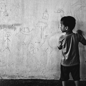 reaching out to the colorless child by Mahmudul Alam Zisan - Black & White Portraits & People ( black and white, bw, fine art, children, 50mm, d3200, kids, dhaka, child, bangladesh, colorless, doodle, dramatic, nikon, conceptual, light,  )