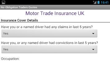Screenshot of Motor Trade Insurance UK