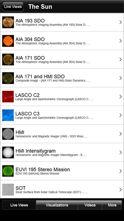 NASA Space Weather Viewer- screenshot