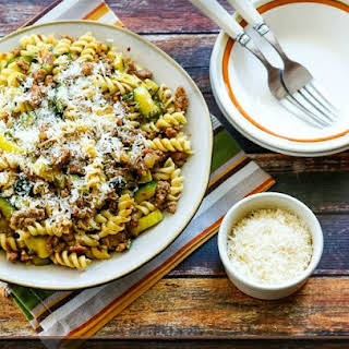 Rustic Pasta Sauce with Italian Sausage, Zucchini, and Sage.