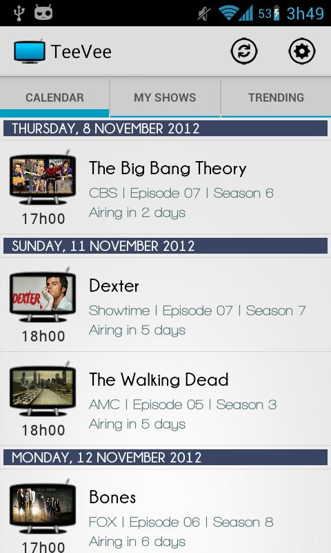 TeeVee Shows and Series Guide - screenshot