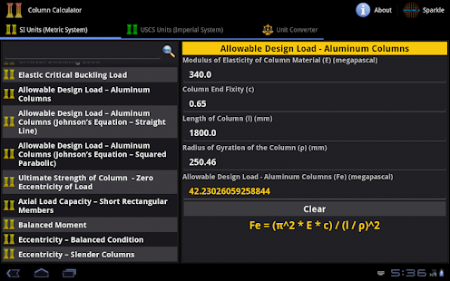 Column Calculator Tablet- screenshot thumbnail