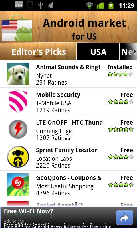 USA Android Market - screenshot