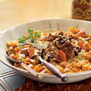 Roasted Vegetable Couscous with Chickpeas and Onion–Pine Nut Topping (Al Cuscus bil Khodar al-mausim).