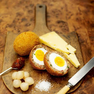 Proper Scotch eggs with lovely Scottish cheese & pickle.